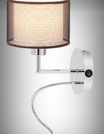 Anastasia fali E27 60W+LED 1W króm/barna RA 2629