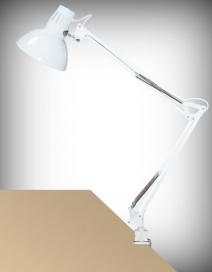 Arno asztali E27 60W,fehér,fém satuval RA 4214